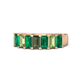 Emerald Green Tourmaline 14K Rose Gold Ring with Emerald and Peridot