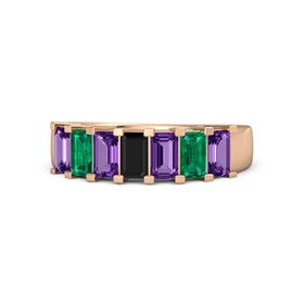 Emerald Black Onyx 14K Rose Gold Ring with Amethyst and Emerald