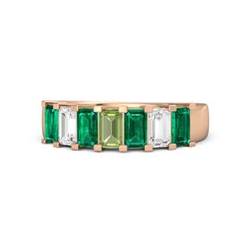 Emerald Peridot 14K Rose Gold Ring with Emerald and White Sapphire