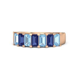 Emerald Blue Sapphire 14K Rose Gold Ring with Blue Topaz and Blue Sapphire