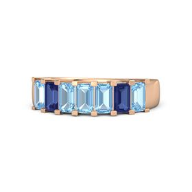 Emerald Blue Topaz 14K Rose Gold Ring with Blue Topaz and Blue Sapphire