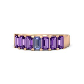 Emerald-Cut Tanzanite 14K Rose Gold Ring with Amethyst