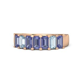Emerald Tanzanite 14K Rose Gold Ring with Tanzanite and Aquamarine