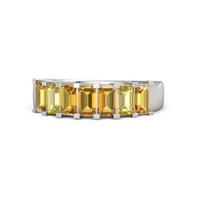 Emerald Citrine 14K White Gold Ring with Citrine and Yellow Sapphire