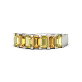 Emerald Citrine 14K White Gold Ring with Yellow Sapphire and Citrine