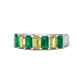 Emerald Yellow Sapphire 14K White Gold Ring with Emerald and Yellow Sapphire