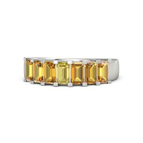 Emerald Yellow Sapphire 14K White Gold Ring with Citrine