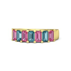 Emerald London Blue Topaz 14K Yellow Gold Ring with Pink Tourmaline and London Blue Topaz