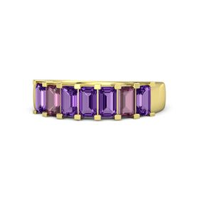 Emerald Amethyst 14K Yellow Gold Ring with Amethyst and Rhodolite Garnet
