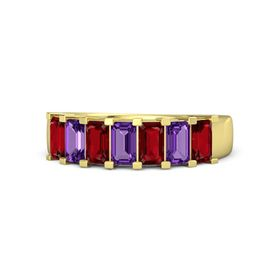 Emerald Amethyst 14K Yellow Gold Ring with Ruby and Amethyst
