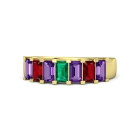 Emerald Emerald 14K Yellow Gold Ring with Amethyst and Ruby