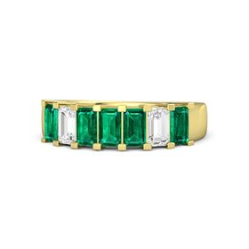 Emerald Emerald 14K Yellow Gold Ring with Emerald and White Sapphire