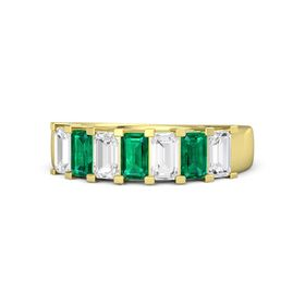 Emerald-Cut Emerald 14K Yellow Gold Ring with White Sapphire & Emerald