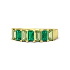 Emerald Emerald 14K Yellow Gold Ring with Peridot and Emerald