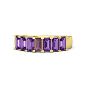 Emerald Rhodolite Garnet 14K Yellow Gold Ring with Amethyst