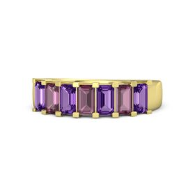 Emerald Rhodolite Garnet 14K Yellow Gold Ring with Amethyst and Rhodolite Garnet