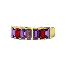 Emerald-Cut Rhodolite Garnet 14K Yellow Gold Ring with Amethyst & Ruby