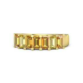 Emerald-Cut Citrine 14K Yellow Gold Ring with Citrine & Yellow Sapphire