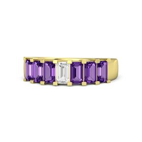 Emerald White Sapphire 14K Yellow Gold Ring with Amethyst