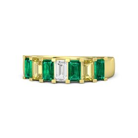 Emerald White Sapphire 14K Yellow Gold Ring with Emerald and Yellow Sapphire