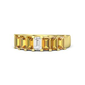 Emerald-Cut White Sapphire 14K Yellow Gold Ring with Citrine