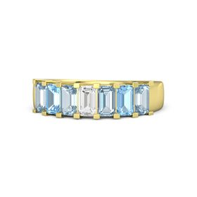 Emerald-Cut White Sapphire 14K Yellow Gold Ring with Aquamarine & Blue Topaz