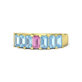 Emerald Pink Sapphire 14K Yellow Gold Ring with Blue Topaz