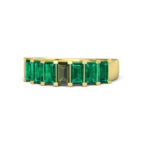Emerald-Cut Green Tourmaline 14K Yellow Gold Ring with Emerald