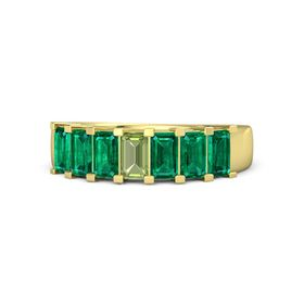 Emerald Peridot 14K Yellow Gold Ring with Emerald