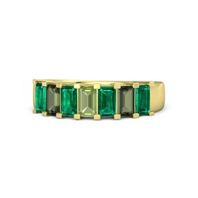Emerald Peridot 14K Yellow Gold Ring with Emerald and Green Tourmaline