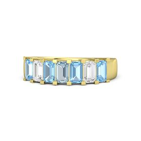 Emerald-Cut Aquamarine 14K Yellow Gold Ring with Blue Topaz & White Sapphire