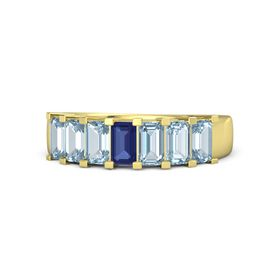 Emerald-Cut Sapphire 14K Yellow Gold Ring with Aquamarine