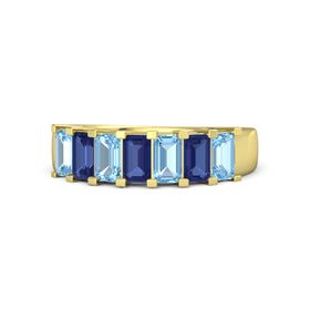 Emerald-Cut Sapphire 14K Yellow Gold Ring with Blue Topaz & Sapphire