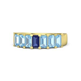 Emerald-Cut Sapphire 14K Yellow Gold Ring with Blue Topaz