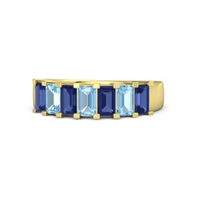 Emerald-Cut Blue Topaz 14K Yellow Gold Ring with Sapphire & Blue Topaz