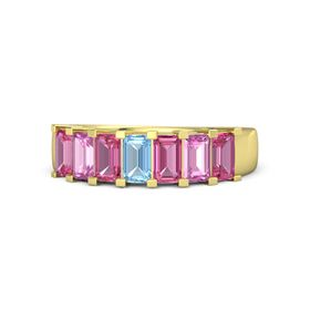 Emerald Blue Topaz 14K Yellow Gold Ring with Pink Tourmaline and Pink Sapphire