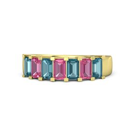 Emerald Pink Tourmaline 14K Yellow Gold Ring with London Blue Topaz and Pink Tourmaline