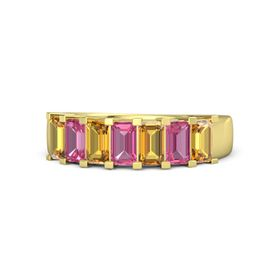 Emerald Pink Tourmaline 14K Yellow Gold Ring with Citrine and Pink Tourmaline