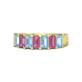Emerald Pink Tourmaline 14K Yellow Gold Ring with Blue Topaz and Pink Tourmaline