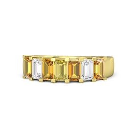 Emerald Yellow Sapphire 14K Yellow Gold Ring with Citrine and White Sapphire