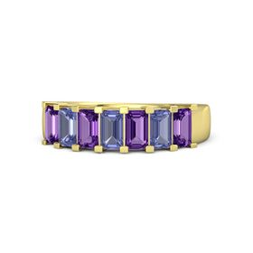 Emerald Tanzanite 14K Yellow Gold Ring with Amethyst and Tanzanite