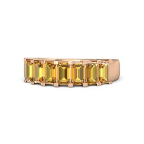 Emerald Citrine 18K Rose Gold Ring with Citrine