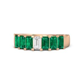 Emerald-Cut White Sapphire 18K Rose Gold Ring with Emerald