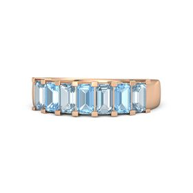 Emerald Blue Topaz 18K Rose Gold Ring with Aquamarine and Blue Topaz