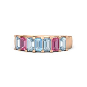 Emerald Blue Topaz 18K Rose Gold Ring with Aquamarine and Pink Tourmaline