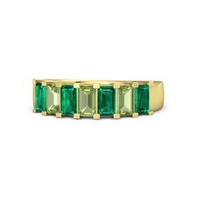 Emerald Peridot 18K Yellow Gold Ring with Emerald and Peridot