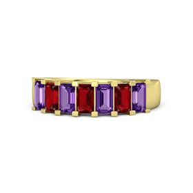 Emerald Ruby 18K Yellow Gold Ring with Amethyst and Ruby