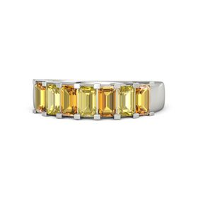 Emerald-Cut Yellow Sapphire Palladium Ring with Citrine & Yellow Sapphire