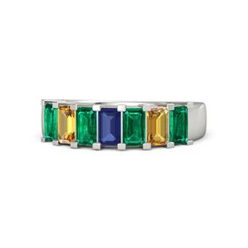Emerald Blue Sapphire Platinum Ring with Emerald and Citrine
