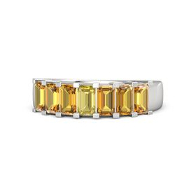 Emerald Yellow Sapphire Sterling Silver Ring with Citrine